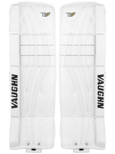 "New Vaughn Xf Pro Sr goalie leg pads 34""+2 All White V7 Velocity senior hockey"