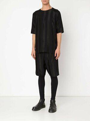 Alexandre Plokhov Black Striped Viscose Elastic Waist Shorts Sz 48