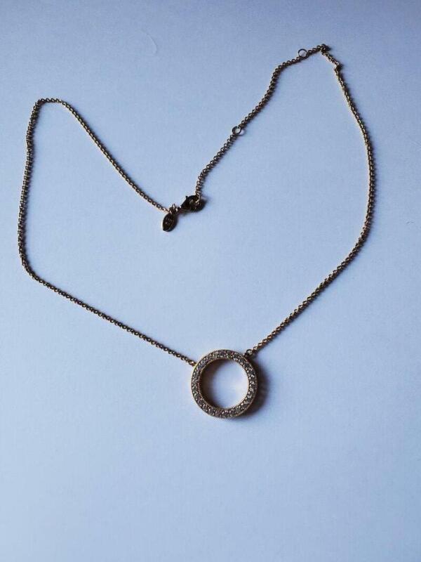 Estate Pandora Sterling Gold Vermeil Cubic Zirconia Circle Ring Necklace