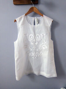 MALENE BIRGER WHITE COTTON SHELL TOP WITH EMBROIDERY   BRAND NEW NEVER WORN