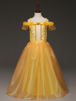 US STOCK Belle Dress Costume Gown  Princess Girl Beauty and The Beast O32