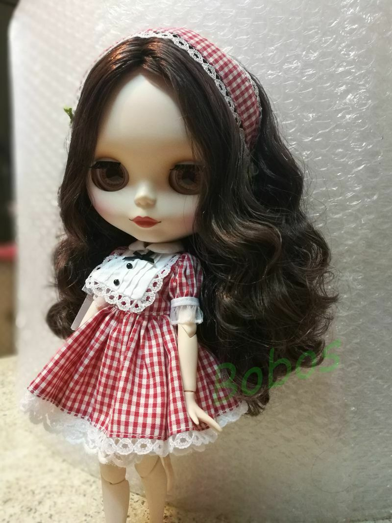 Blythe Nude Doll from Factory Matte Face Japan/'s Hair Brown Curly Hair