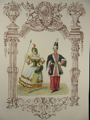 AMAZONE ORIENTALE ORIENT KARNEVAL FASCHING KOL. LITHOGRAPHIE BERLIN 1836 G63