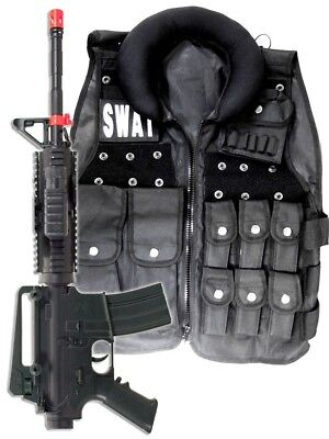 Police SWAT Vest Halloween Costume + M4 Pistol Rifle Cop Adult Men size Airsoft](Swat Costume Vest)