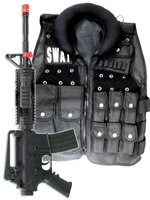 Police SWAT Vest Halloween Costume + M4 Pistol Rifle Cop Adult Men size Airsoft](Swat Costume Vest)