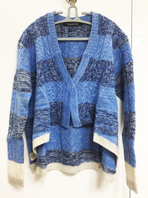 [Thakoon] Crop Sweater Cardigan Blue Stripe Sz Medium / Knit Top / New with Tag