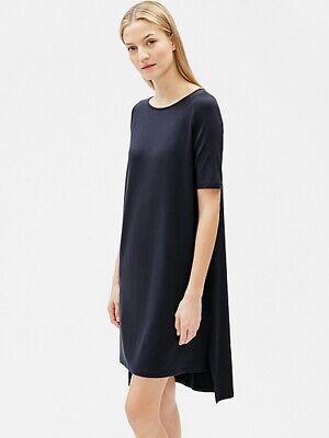 Eileen Fisher Ink Blue Hi Low Jersey Shift Dress Size 1X Orig $188 Eileen Fisher Ink