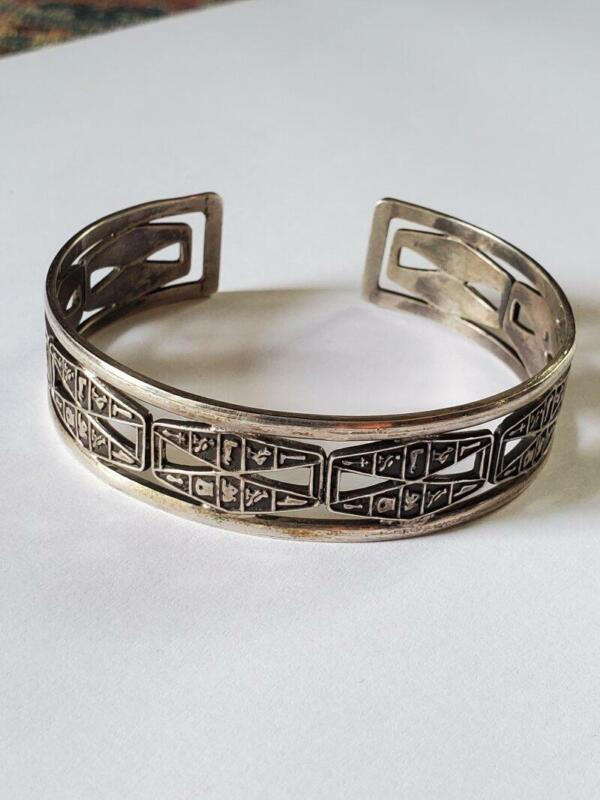 Vintage Egyptian Revival Sterling Silver Cuff Bracelet