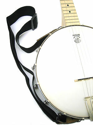 Black Webbing Adjustable Banjo Strap with Leather Ends and Fixing Ties