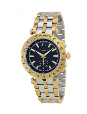 Versace Men's 'V-Race' Swiss Quartz Stainless Steel  Watch, Color:Two Tone 001