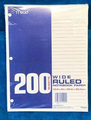Mead Loose Leaf Paper Filler Paper Wide Ruled 200 Sheets Hole Punched 1 Pack