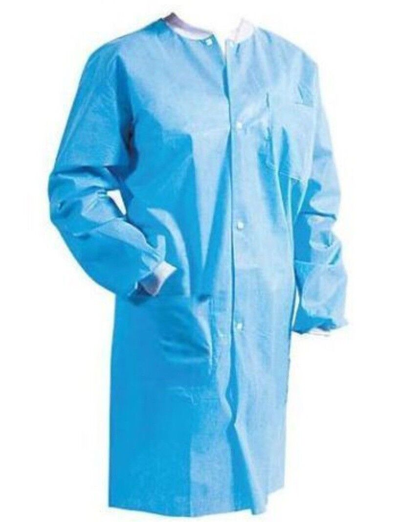 10 Pack Disposable Protective Medical Lab Coat Gown with Pockets