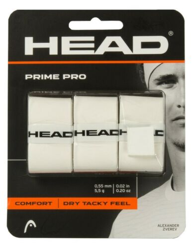 Head Prime Pro Tennis Over Grip Overgrip White 3 Pack