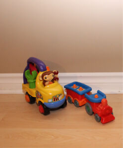 Toy truck and train