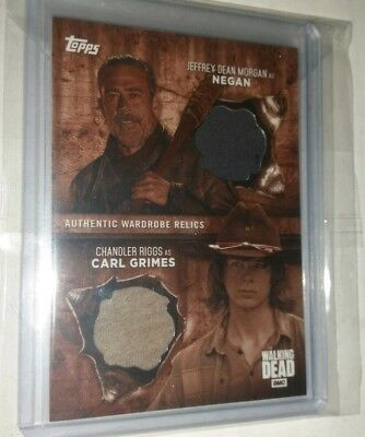 Negan Carl Grimes 2017 Topps Walking Dead Season 6 Dual Relic Card SEPIA 07/10