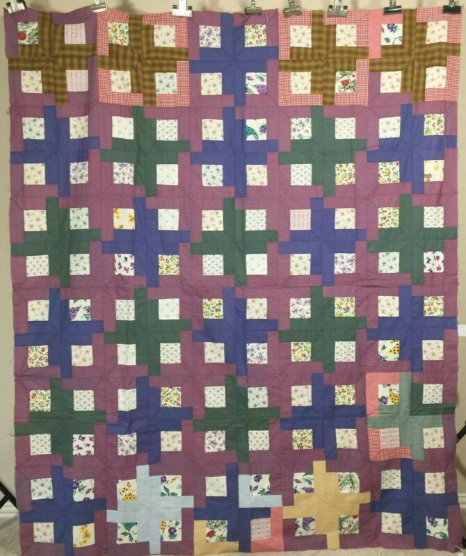 Antique Quilt Top Window Pane - Colorful!
