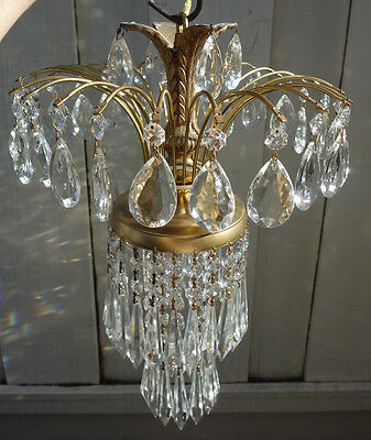 1of2 Vintage SWAG lamp crystal chandelier Hollywood Regency waterfall hanging