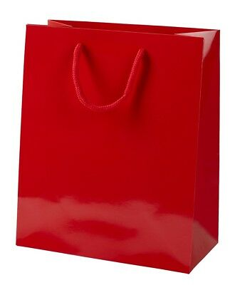 10 RED GLOSS BOUTIQUE PAPER CARRIER BAGS WITH ROPE HANDLES (MEDIUM) 20CM WIDE