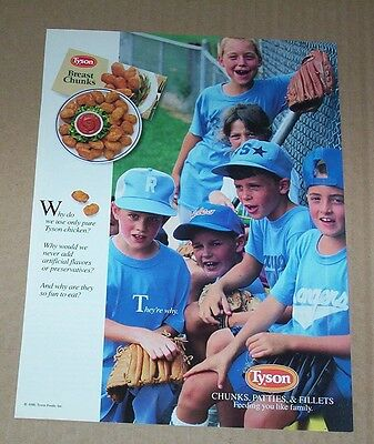 1991 Ad Page   Tyson Foods Chicken   Cute Little Baseball Boys Print Advert Page