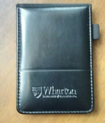 Wharton Black Leather Memo Book Note Pad Holder Cover Case Sleeve 3 12x5