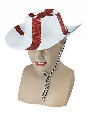 Womens Football Kostüm (Men's Womens England Glitter Cowboy Hat St George Euro 2016 Football Fancy Dress)