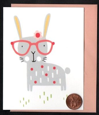 Papyrus Bunny Rabbit Glasses Flower Whiskers  - Small Blank Note Card  NEW](Rabbit Whiskers)