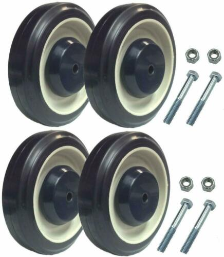 "Set of 4 Replacement Shopping Cart Caster Wheels with Hardware 5"" Diameter"