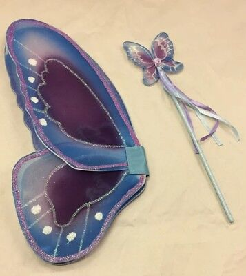 Purple Blue Fantasy Butterfly Pixie Fairy Wings & Wand Costume Accessory Set