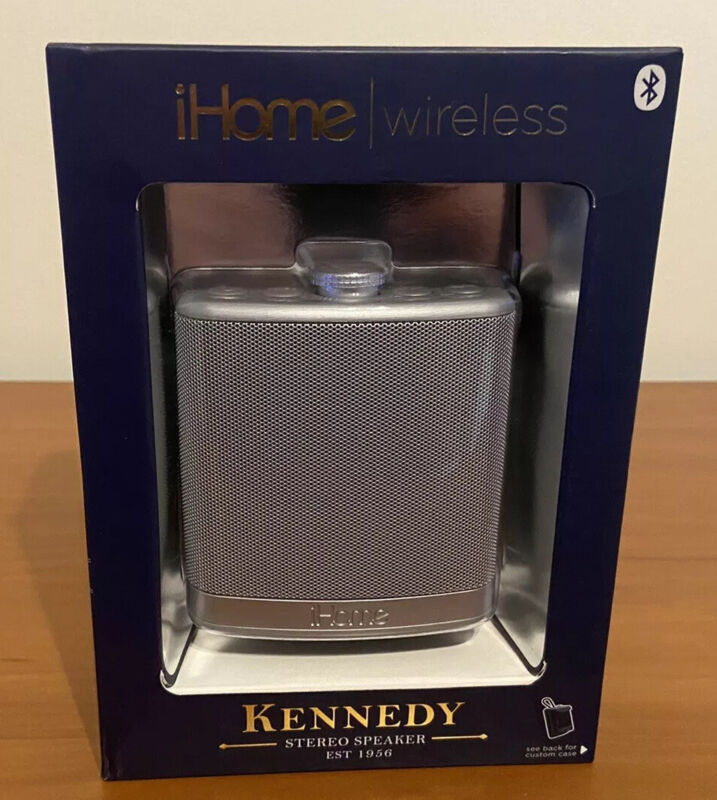 iHome Wireless Portable Metal Flask Kennedy Bluetooth Speaker with Case