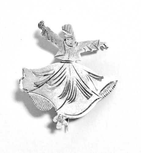 """TURKISH HORON WHIRLING DERVISH DANCER SILVER PIN BROOCH PIN, 1.25"""" TALL"""