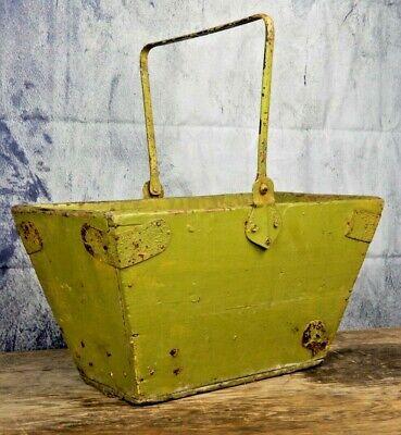 Antique, green trug, wooden garden, basket, rustic vintage