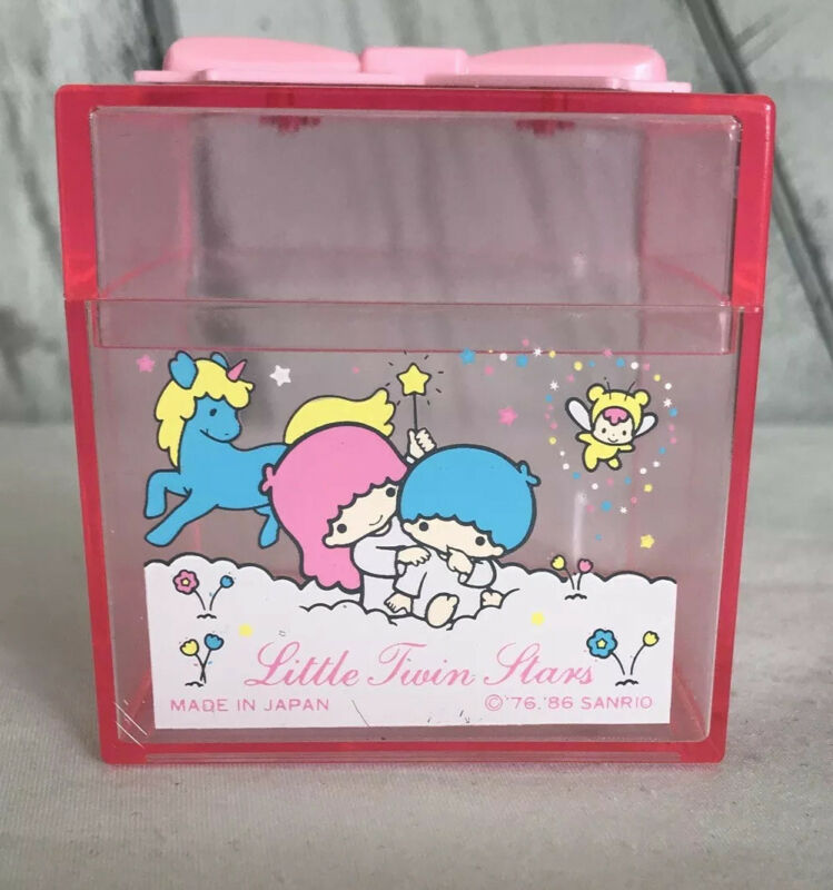 Vintage 1986 Little Twin Stars Sanrio Clear Trinket Box Pink Bow Unicorn Japan