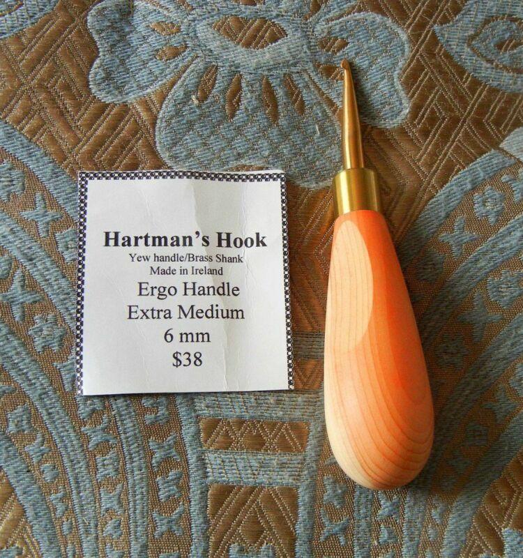 Hartman Hook for Rug Hooking - Ergo Yew Handle Brass Shank - Primitive 6mm Irish