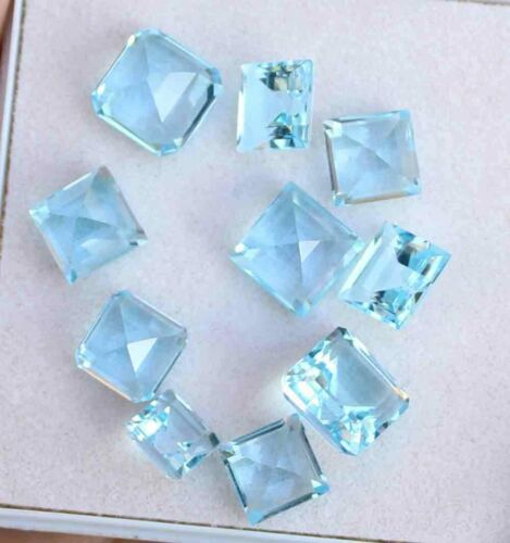 32.60Carat 100% Natural Blue Topaz Cushion Cut Lot Loose Gemstone 9 MM