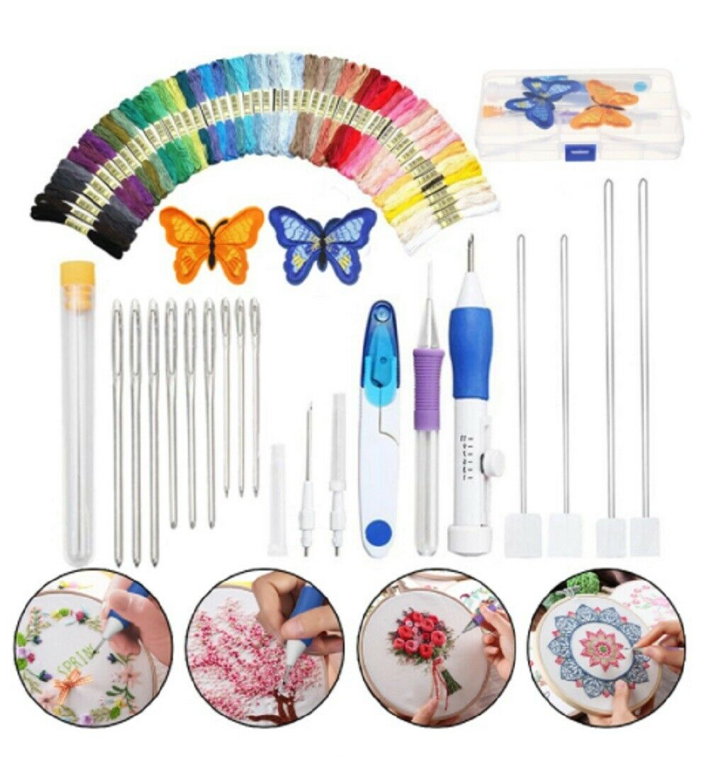 Magic DIY Embroidery Pen Knitting Sewing Tool Kit Punch Needle Set 50 Threads US Crafts