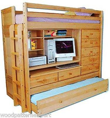 BUNK BED Paper Patterns LOFT ALL IN1 W/ TRUNDLE DESK CHEST CLOSET Easy DIY -