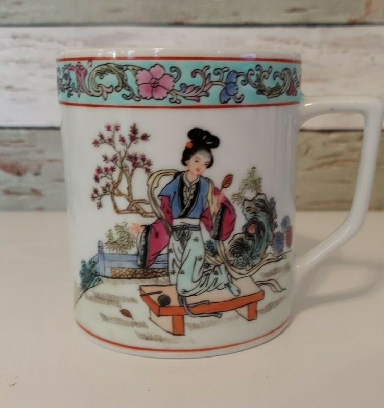 Asian Tea Cup Chinese Geisha Blossoms Hand Painted Floral Coffee Mug