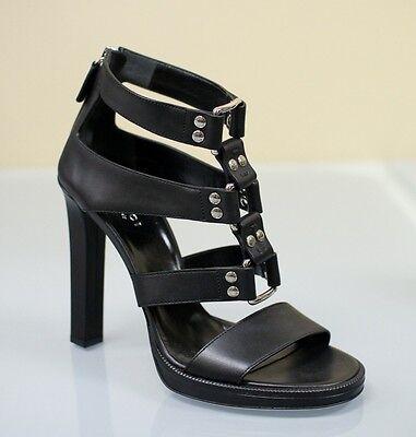 New GUCCI MIRA Gladiator Leather Platform Sandal 38.5/8.5 Black 257872 1000