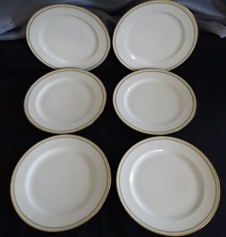 """Haviland Limoges France 6 Luncheon Plates 8 5/8"""" - Green Heart Ring w/ Gold Trim"""