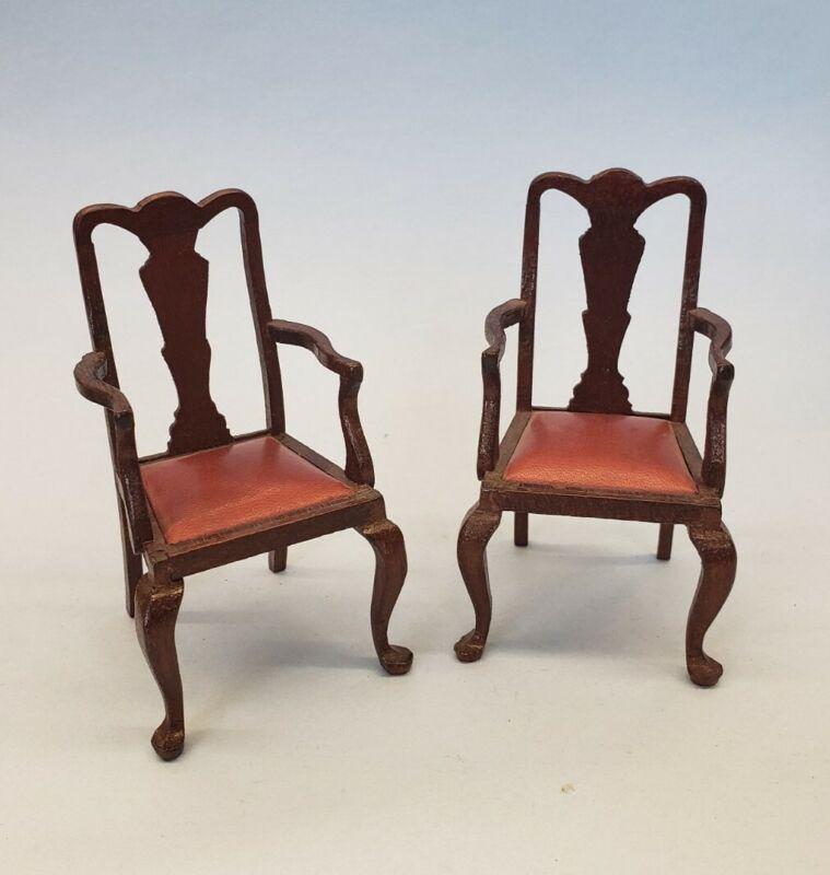 1:12 Dollhouse Miniature Artisan Chairs Signed Escutcheon wood w leather seats