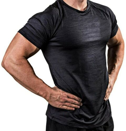 Men/'s Slim Gym O Neck Tops Short Sleeve Muscle Tee Shirt Casual T-shirts Blouse
