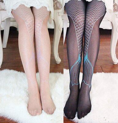 Women Transparent Sexy Fish Sparkling Mermaid Tail Printing Tights Pantyhose