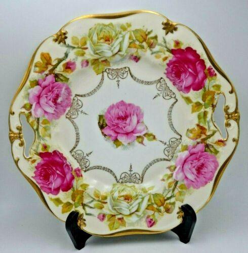 Antique Prov Saxe E.S. Germany Handled Cake Plate Heavy Gold Trim