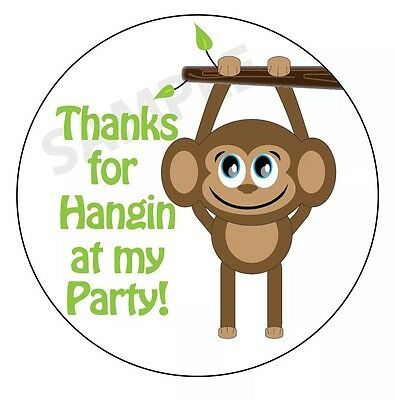 Party Favor Labels/ Stickers Glossy! (Monkey Theme)