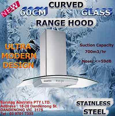 EUROTAG 60cm Curved Glass Canopy Stainless Steel Range Hood European Design