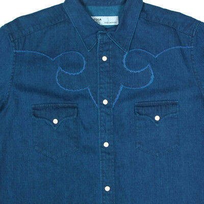 TOGA VIRILIS ARCHIVES Turquoise Denim Western Embroidered Mens Shirt sz 48 /5050