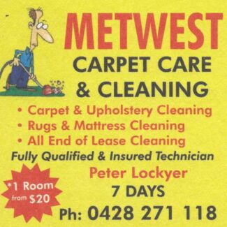 METWEST CARPET CARE AND CLEANING Werrington County Penrith Area Preview