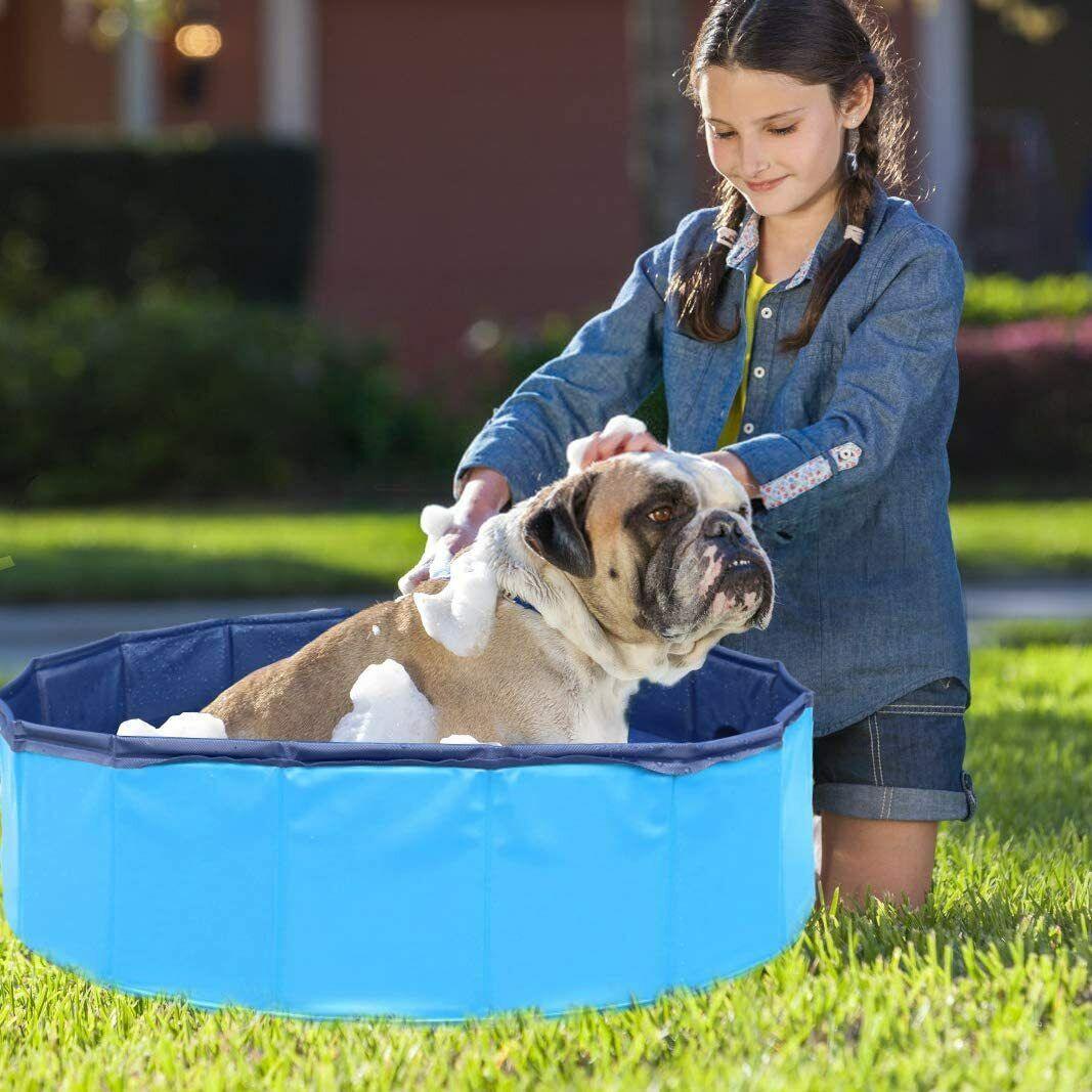 Foldable Dog Pool PVC Collapsible Pet Kiddie Bath Swimming Pool Bathing Tub US - $8.99