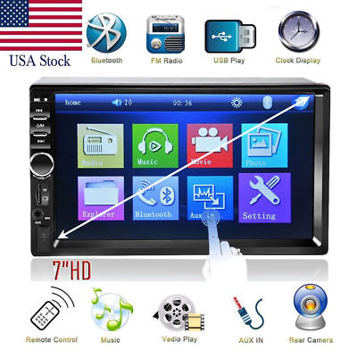 7  Double 2Din In Dash Car Mp5 Radio Player Touch Bluetooth  Camera For Toyota