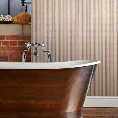 (Embossed modern Wallpaper cream rose gold pink metallic stripes lines textured )